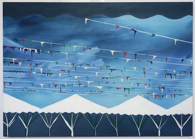 "Ida y Vuelta (outward journey and return), 2012; oil on canvas, 34"" x 48."""