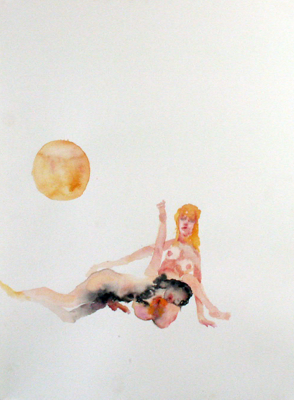 """The Lovers"", Eliza Swann and Laura Zuspan in Collaboration, Watercolor on paper, 2007"